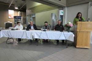(left to right) Mireille Goyer, the honourable Bob McLeod, David Ramsay, Gordon Van Tighem, and Delia Chesworth
