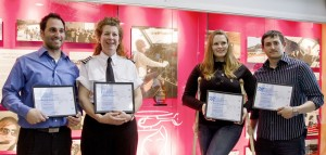 Award winning pilots (left to right): Robert Ferlisi, organizer Kirsten Brazier, Megan Tyler, and Derrick Robinson