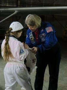 Astronaut Pam Melroy and an astronaut-to-be